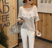 lady lace blouse - 2016 Fashion Women Ladies Blouses And Tops Sweet Lace Cutout Hollow Out Handmade Crochet Cape Collar Batwing Sleeve Blouse Medium Long G0443