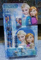 Wholesale 5set Frozen princess doll pattern stationery set school supplies pencil case ruler sticker eraser kid gift