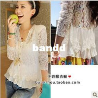 Cheap Wholesale-Free shipping 2013 blusa de renda lace hollow yarn blouse for women