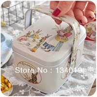 Wholesale Easter basket box with handle retro tin storage box
