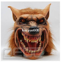Wholesale Halloween brown Creepy Adult wolf head latex Rubber Mask Costume Prop Novelty nu