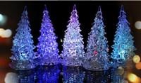 Wholesale 20pcs Christmas Tree LED Night Light Nightllight Halloween Gifts Crystal Lamp Lighting Changeable Colors box free ship