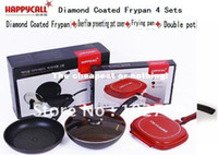 Wholesale Freeship dhl sets Happy call Happycall set Diamond Coated Frypan Overflow preventing potcover Frying pan double pan