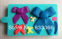 Wholesale bowknot shaped Chocolate Candy Jello D silicone Mold Mould Cartoon Figre cake tools soap mold C033