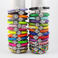 Wholesale Shamballa Clasp Magnetic PU Leather Bracelets Color In Stock DHL Free