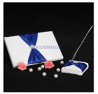 Wholesale Wedding Favors Wedding Party unique white and royal blue satin Florish Wedding Guestbook and Pen Set