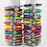 Cuff leather cuff bracelet - 2014 HOT Shamballa Clasp Magnetic With PU Leather Bracelets Colors Top Quailty