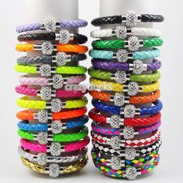 Wholesale Shamballa Wholesale Free Shipping - 2014 HOT Shamballa Clasp Magnetic With PU Leather Bracelets 29 Colors Top Quailty Free Shipping