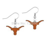 Dangle & Chandelier antique texas - pair a antique silver plated single sided University of Texas Longhorns charms sports dangle earring