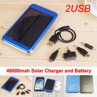 achat en gros de panneaux solaires-48000mAh portable solaire chargeurs de batterie haute capacité Dual USB Solar Energy Panneau Chargeur Power Bank Téléphone Mobile MP4 portable PAD Tabl