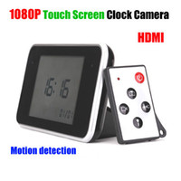 Wholesale New style Multi function P HD hidden big touch screen led spy clock camera dvr Time video H motion detection HDMI output