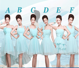 Wholesale 2014 new arrival lake blue fashion strapless draped short chiffon Junior Bridesmaid Dresses custom made