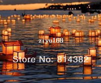 best candle lantern - 10pcs Paper Water River Lantern Square Lantern Candle Pen Festival Give Thanks Gift Best Wish Lantern cm