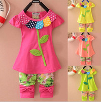 Cheap New Fashion 2014 Frozen Girls Clothing Sets Beautiful Clover Floral children Clothing Set Short Sleeves baby Kids sets Clothes