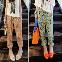 Cheap Women's Fashion Floral Prints Pattern Casual Wide Leg Palazzo Loose Pants Trousers # L0341094