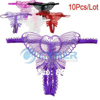 Cheap Wholesale 10Pcs Lot Women's Sexy Open Crotch Thong Lady Panties G-String Knicker Butterfly Underwear 6 Colors