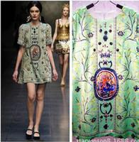 Wholesale 2014 Women s Dresses Fashion Dresses Runway Dress European Style Green Printing Silk Dress M L