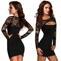 Cheap 2014 New Ladies Lace Long Sleeve Cheap Sexy Club Dresses Evening Party Bodycon Dresses Plus Size SV000259 #005