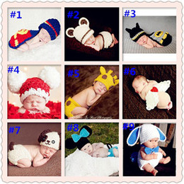 Wholesale Factory NewBrown Handmade Crochet Baby hat Kids Knitted Hat Newborn Month Baby Photography Props Hat