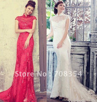 Wholesale New Arrival Chinese Style Exquisite Embroidery Smail Trailing Chi pao Wedding Gown Unique Toast Suit
