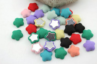 Buttons 15mm Assorted colors Free Shipping Wholesale 240pcs 15mm Star Shape Flatback Fabric Covered Button For Hair Flower Wedding Invitation