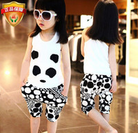 Cheap girls clothing sets, new 2014, summer, baby, kids clothes sets ,child sport suit ,with stripe cartoon panda,children casual set