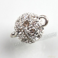 Wholesale 12 pair per Silvery Copper Rhinestone Round Ball Strong Magnetic Clasp Jewelry Magnetic Clasp Findings x10x10mm