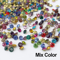 Precio de Mixed crystal beads-ss6 1440 PC color de la mezcla AAA Forma Crystal Point Volver Rhinestones Cuentas Chaton Piedras para el vestido de boda de uñas de arte de la decoración