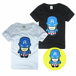 Wholesale Baby T shirts American Captain Doll Cartoon Cotton Short Sleeve T shirts For Boy Girl