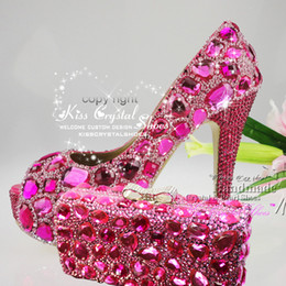 Wholesale Peep Toe Women Shoes Fuchsia High Heel Hotpink Swarovski Crystal Wedding Pumps platform Party Shoes with Matching Clutch Bag