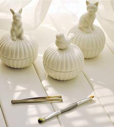 Promotion boîtes à bijoux dames Livraison gratuite New Zakka blanc boîte de bijoux en céramique avec des petits animaux mignons / boîte de rangement / Lady et Fille de cadeau / décoration top vente