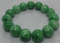 China-Miao nature green jade bracelet - 12mm NATURE BEAUTIFUL GREEN JADE JADEITE BRACELET GREEN HAND CATENARY