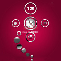Cheap Home Decoration! 3D Interior Decoration Bell Living Room,Mirror Effect Ring Wall Clock Modern Design,Wall Watches #3 SV000407