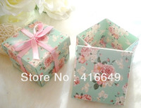 Wholesale Pink ribbon Green flower Paper DIY Favor Party gift box sweet candy box wedding boxes packaging