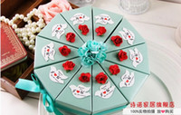 Blue tiffany blue favor boxes - 60Pcs Sets Blue Candy Boxes July Style Wedding Favor Holders