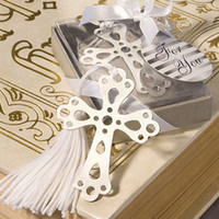Wholesale Creative design metal christening cross bookmark with tassel in gift box baby shower favors and gifts for guest