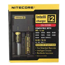 Véritable Nitecore I2 Chargeur universel pour 16340 18650 14500 26650 Batterie E Cigarette 2 en 1 Fonction Muliti Code de la sécurité Intellicharger