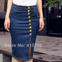 Wholesale Plus Size XXXL Denim Jeans Skirt For Women Slim Hip Buttons Decoration Formal ol Summer Skirts Pencil bodycon Skirts