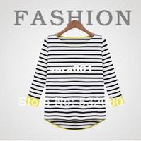 Wholesale Winter New Stripe Thicken Loose Cotton Knitting Long sleeve Women T shirt