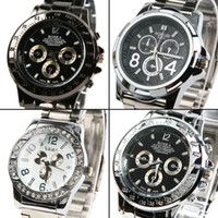 Cheap New Fashion Men's military Steel Band Metal Quartz watches Sports Wrist Watch diamond clocks Auto Date Dress wristwatch #L05516