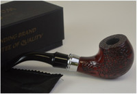 "Cheap Wood Tobacco Pipe, Briar style. About 6.5"" long. Nice engraving pattern. Free pouch included."