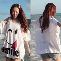 Cheap 2014 ZANZEA Oversized Maternity Womens Off Shoulder Batwing Sleeve Smile Printed Loose Pregnancy Tee Top Plus