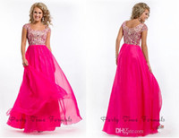 Wholesale 2014 red chiffon Crystal Prom Dresses Scoop Neck Capped Sleeves Glitz Floor Length Summer Chiffon Beaded Hot Pink Formal Evening Gowns