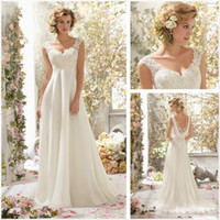Wholesale Callista Vintage A Line V Neck Beaded Sequins Ivory Lace Chiffon Sheer Straps Backless Beach Wedding Dresses for Bridal with Cowl Back