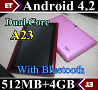 Cheap DHL 300PCS Q88 Dual Core Tablet PC 7 Inch Screen Android 4.2 AllWinner A23 512MB RAM 4GB Q8 with Bluetooth TA2