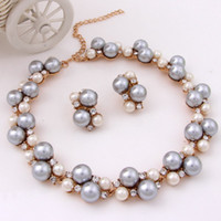 Cheap 2014 Women Dress Costume Gray Pearl Beads Necklace Sets Fashion Silver Plated Inlaid Crystal Wedding Bridal Costume Pearl Jewelry Sets