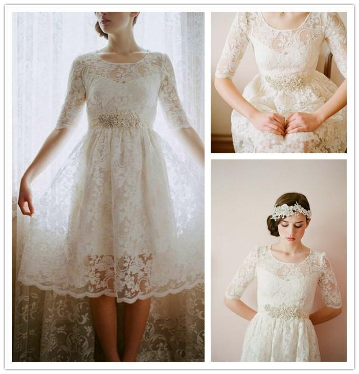 Custom Tea Length Lace Wedding Dresses Vintage Scoop Neck Beaded ...