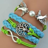 beautiful pearl jewellery - Beautiful Inifity Bracelets Leather Weave Bracelets Charm Pigeon Pearl Wisdom Life Tree Pink Blue Mix Colors Cheap Wrist Jewellery