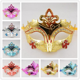 Mens Woman Mask Halloween Masquerade Masks Mardi Gras Venetian Dance Party Mask Half Face gold shining plated Mask 6 colors