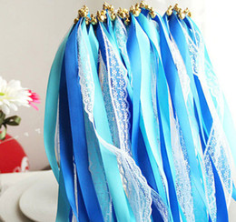 Wholesale Lace satin ribbon streamers wedding wish magic wands sticks with bells confetti party photo props decoration events wedding favors supply